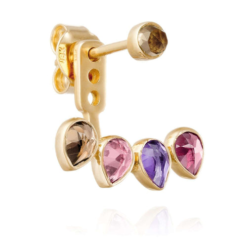 Yellow Gold Ear Stud with Jacket Mosaik-Perle de Lune-JewelStreet EU