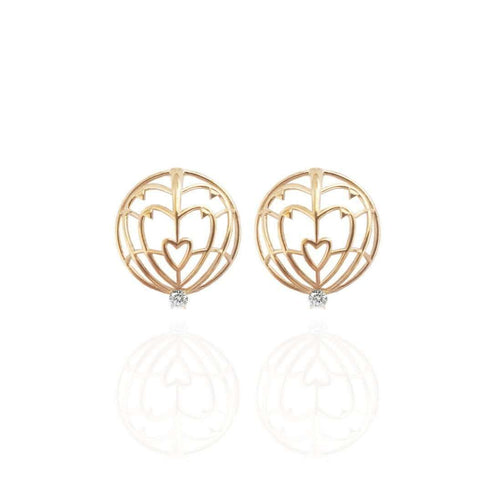 18kt Yellow Gold Everlasting Love Spike Earrings-Jane North-JewelStreet EU