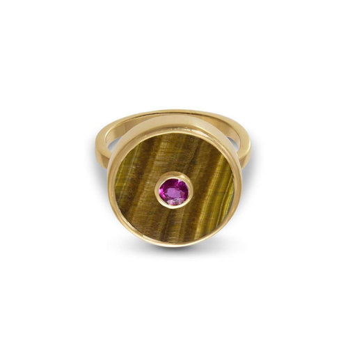 Europa Ruby and Tiger's Eye Ring ,[product vendor],JewelStreet EU
