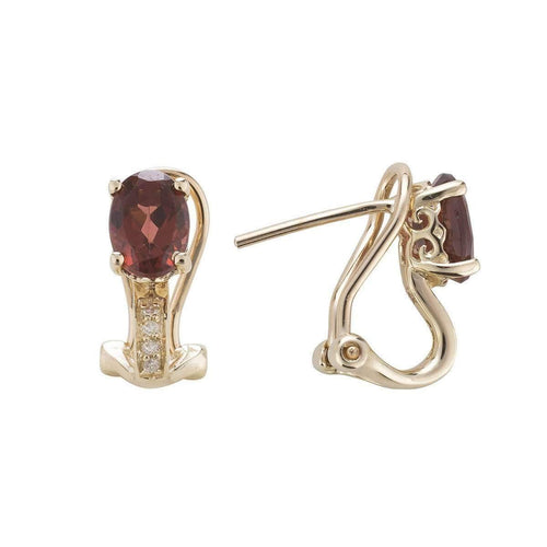 14kt Yellow Gold Diamond And Garnet Earring - January Birthstone