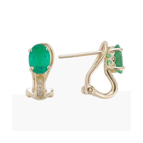 14kt Yellow Gold Diamond And Emerald Earring - May Birthstone