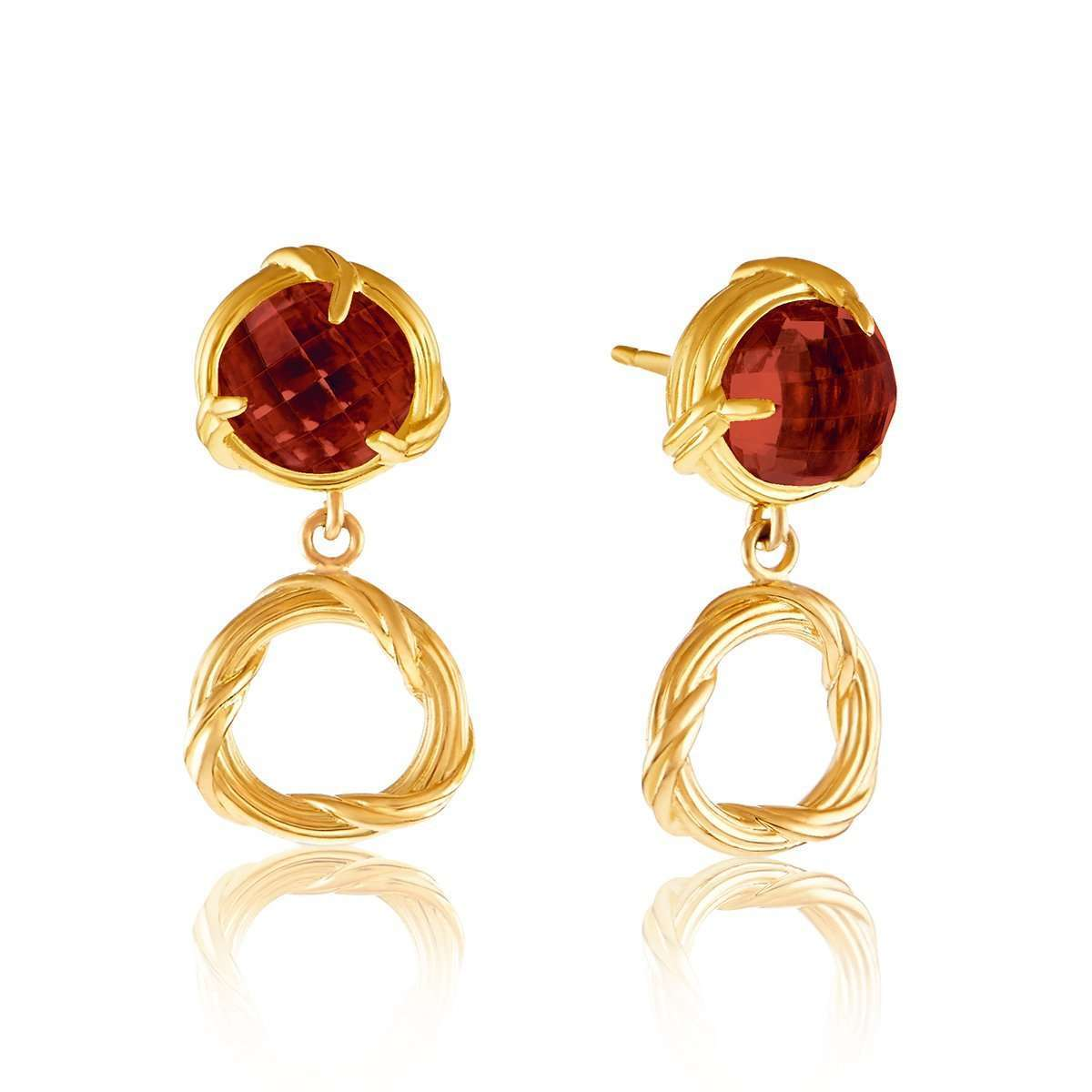 Fantasies 18kt Gold Garnet Circle Drop Earrings ,[product vendor],JewelStreet EU