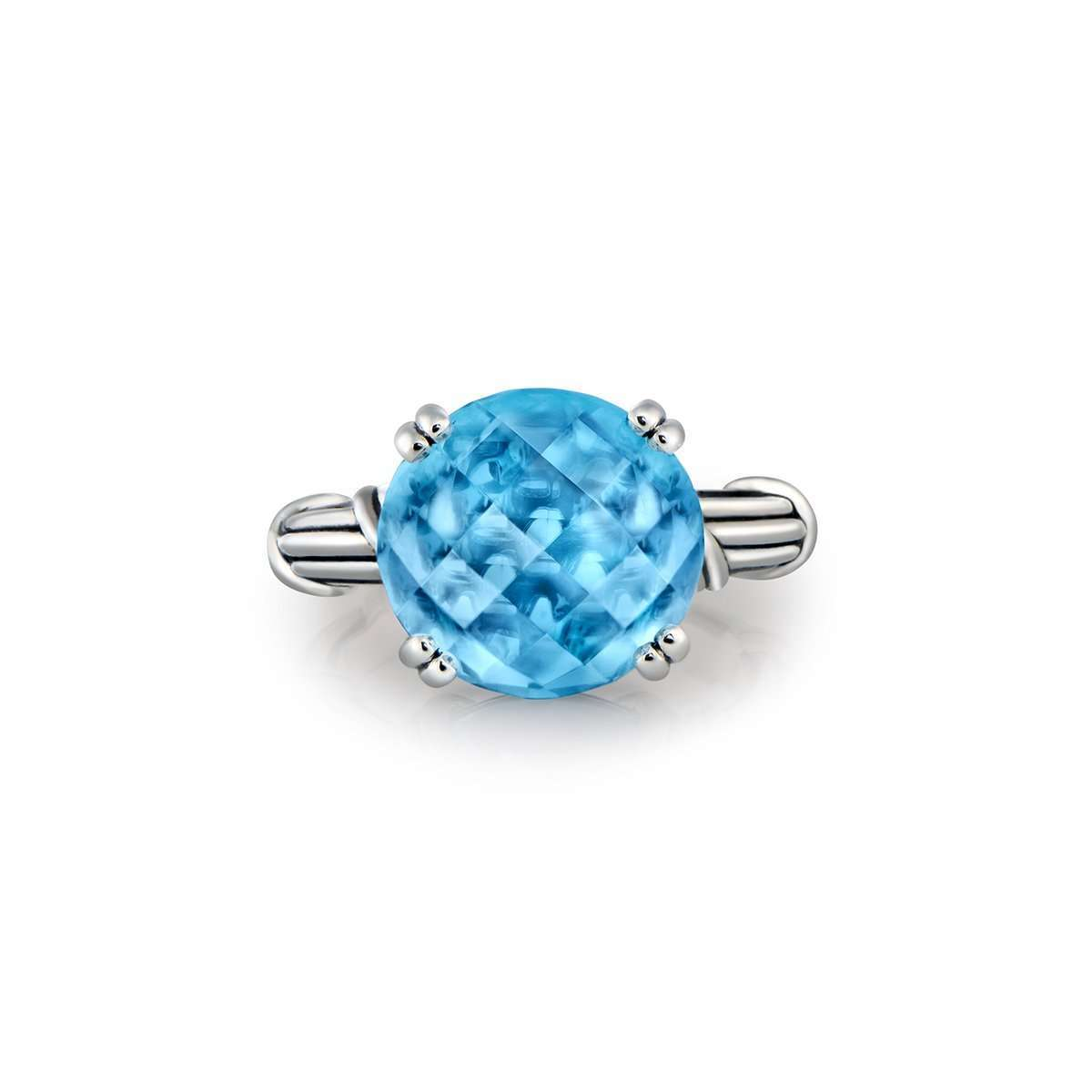 Fantasies Blue Topaz Sterling Cocktail Ring ,[product vendor],JewelStreet EU
