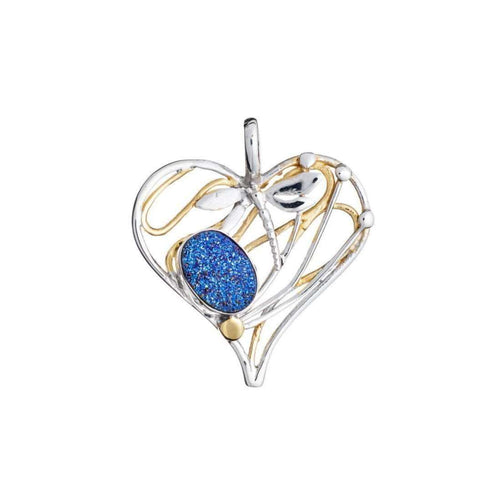 Heart Dragonfly Pendant In Blue Titanium Druzy-Gallardo and Blaine Designs-JewelStreet EU