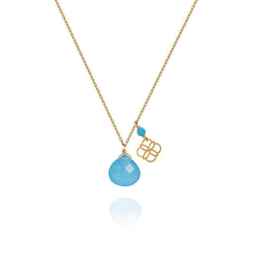 Blue Jade Drop And Daisy Pendant 18kt Gold-Perle de Lune-JewelStreet EU