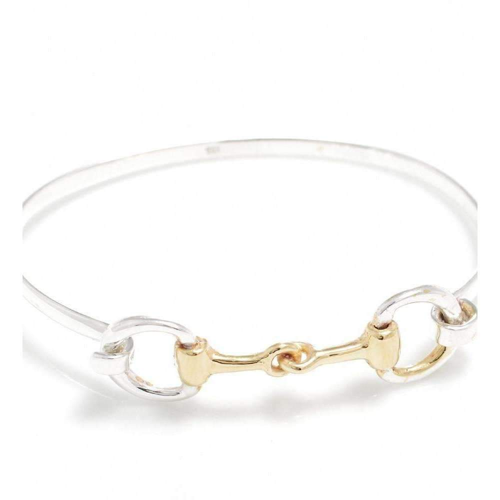 Exclusive Sterling Silver and 18kt Gold Plated Double Snaffle Clip Bracelet-Bracelets-Hiho Silver-JewelStreet