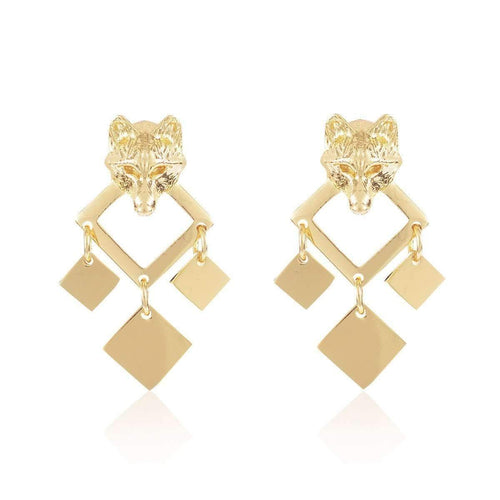 Gold Night Wolf Earrings ,[product vendor],JewelStreet