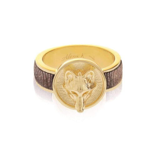 Gold Small Ring With Leather-Rings-Alexa K-JewelStreet