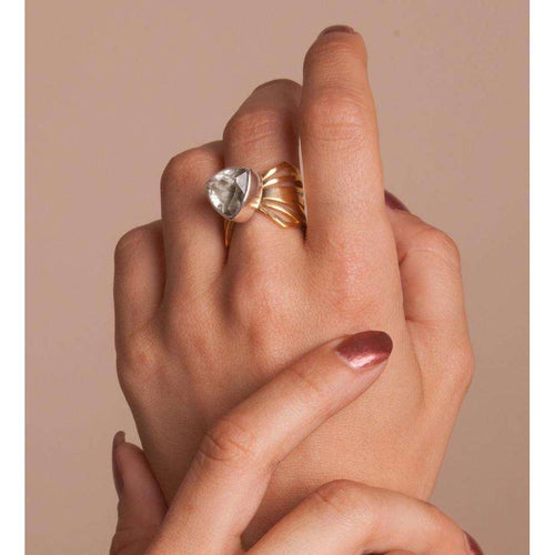 Adjustable Chunky Folded Wing Ring-Anna Byers Jewellery-JewelStreet EU