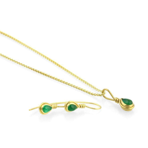 9kt Gold Emerald Teardrop Earrings-Prism Design-JewelStreet EU