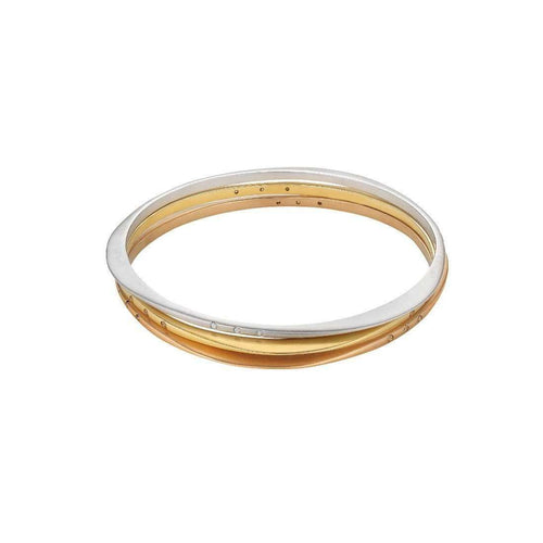 c68b3173afb Halo Recycled Gold Stackable Bangle Set Champagne Diamond ...