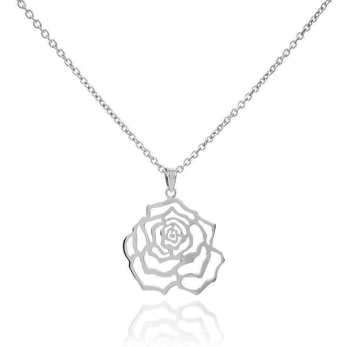 Rosa Large Silver Pendant-Necklaces-MANJA Jewellery-JewelStreet