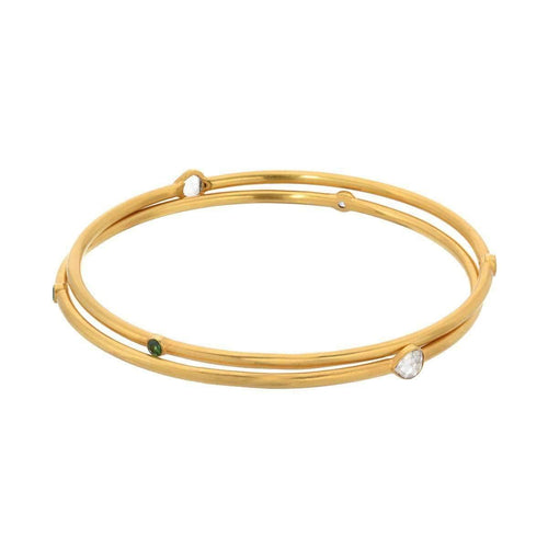 Bangle with Rose Cut and Stones-JS Noor-JewelStreet US