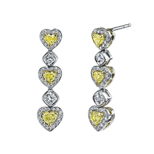 Alternating Hearts & Cushion Cut diamond Drop Earrings-Harry Kotlar-JewelStreet EU