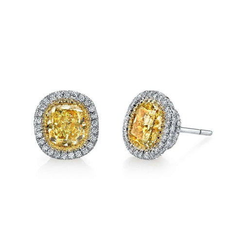 Fancy Yellow Cushion Cut with Halo Pave Stud Earrings ,[product vendor],JewelStreet EU
