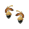 Gold Pearl & Dimaond Acorn Eden Earrings | Chekotin Jewellery