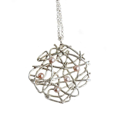 Free Spirit Necklace Silver With Pearls-Katerina Damilos-JewelStreet EU