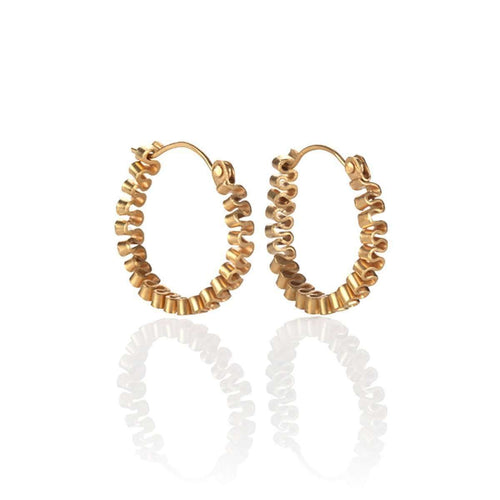 Gold Circle Ruffle Earrings-Karen Fox-JewelStreet EU
