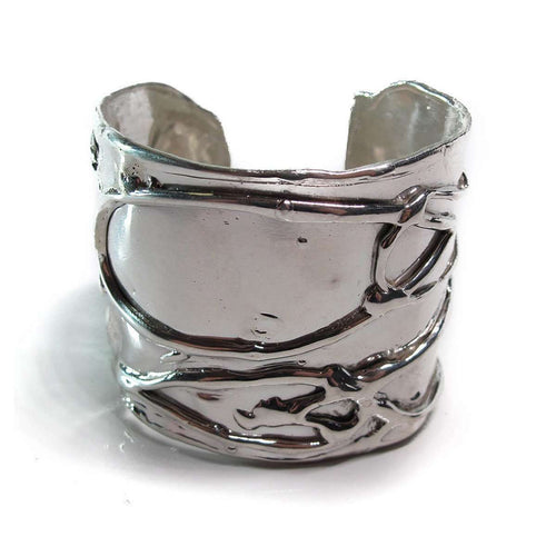 Large Byzantine Shiny Silver Cuff ,[product vendor],JewelStreet EU