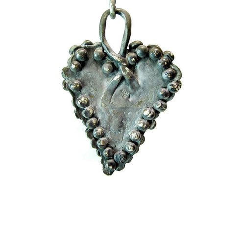 Large Gothic Oxidized Sterling Silver Heart Pendant ,[product vendor],JewelStreet EU