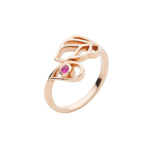 Rose Gold and Ruby Leaf Ring-Luis Miguel Howard-JewelStreet EU