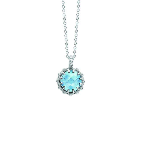 Bloomsbury White Gold Blue Topaz Coronation Pendant-London Road Jewellery-JewelStreet EU