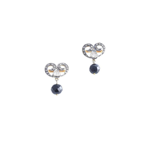 Allure Earrings with Onyx drop-M's Gems by Mamta Valrani-JewelStreet US