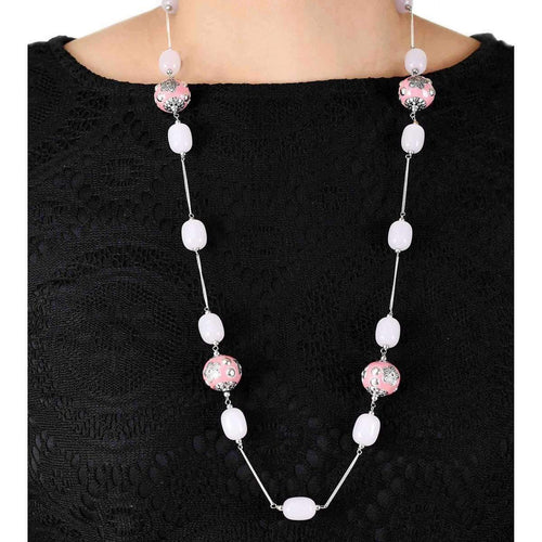 Eternity Chain With Pink Chalcedony And Enamel Flower Beads-M's Gems by Mamta Valrani-JewelStreet US