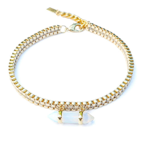 Gold Milly Choker With Opalite Pendant-Clare Hynes-JewelStreet EU