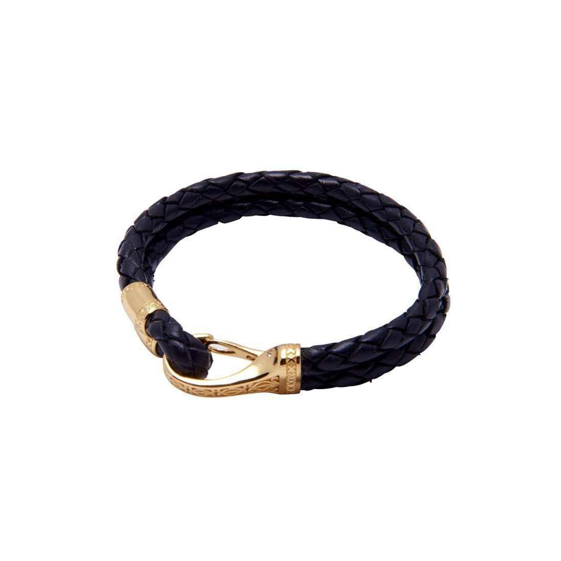 Nialaya Blue Leather Bracelet with Gold Clasp - Extra Large 04bCrhq