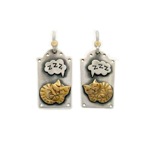 'Sleeping Cat' Drop Earrings-Nick Hubbard Jewellery-JewelStreet EU