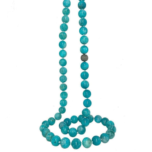 Amazonite And Pave Diamond Ball-Plumeria Exclusive London-JewelStreet EU