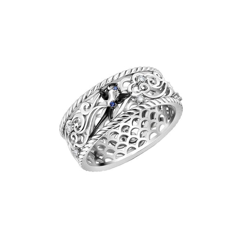 White Gold & Sapphire Air Element Bird Ring | Chekotin Jewellery