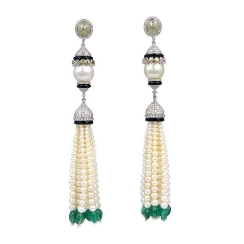 Designer Pearl Diamond Chandelier Earrings ,[product vendor],JewelStreet EU