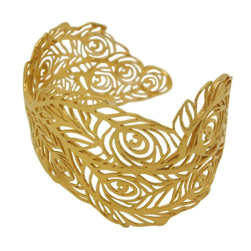 18kt Yellow Gold Vermeil Peacock Bangle-Harriet Bedford-JewelStreet EU