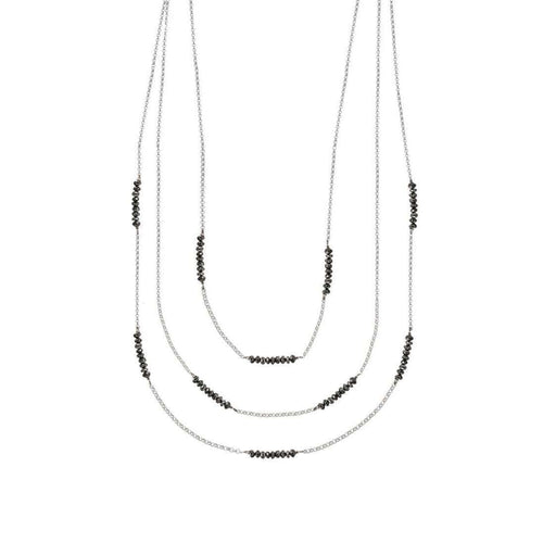 Black Diamond White Gold Necklace-London Road Jewellery-JewelStreet EU