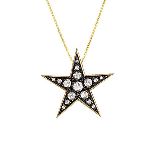 Gold Rose Cut Diamond Starry Night Pendant-London Road Jewellery-JewelStreet EU
