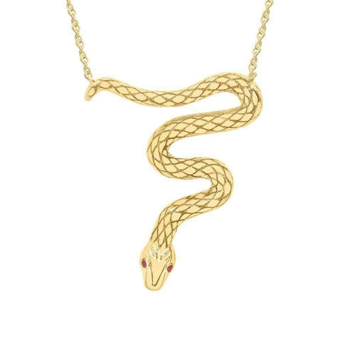 Kew Serpent Yellow Gold Ruby Pendant-Necklaces-London Road Jewellery-JewelStreet