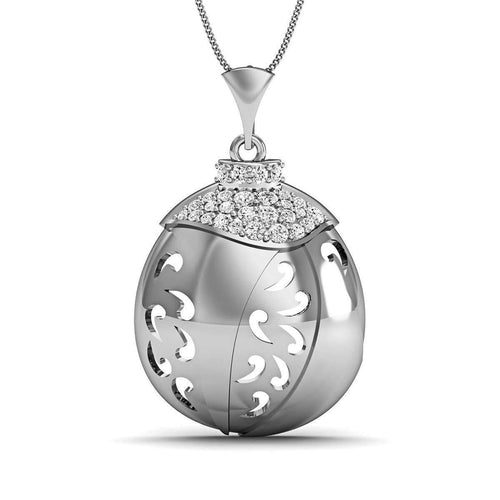 Hand-carved 14kt White Gold and Diamonds Pave Pendant-Diamoire Jewels-JewelStreet EU