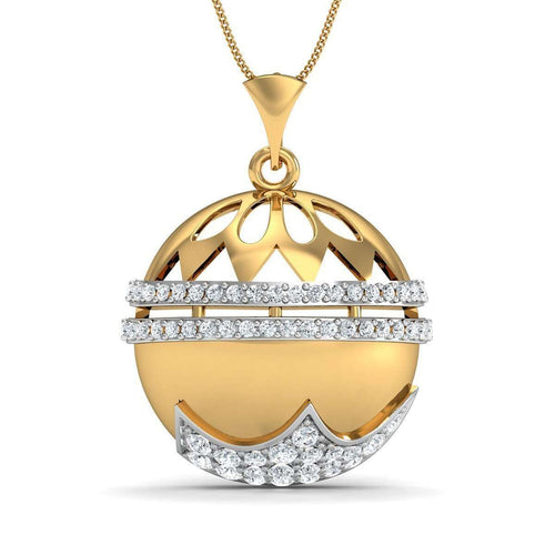 Finest 10kt Yellow Gold and Premium Diamond Pave Set Pendant-Diamoire Jewels-JewelStreet EU
