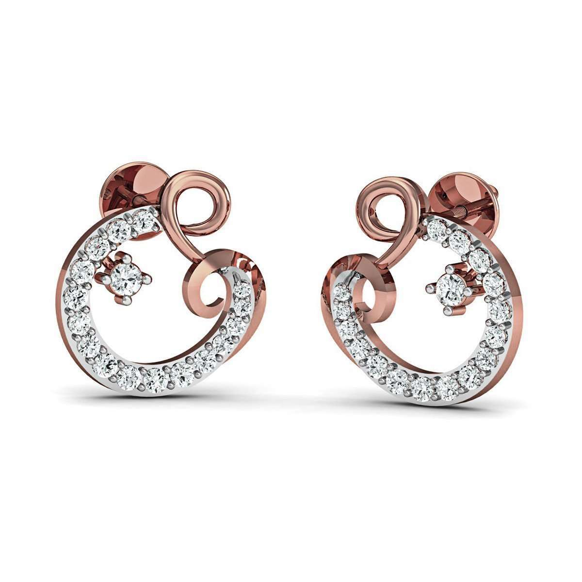 14kt Rose Gold Pave Earrings Handset with 34 Premium Diamonds-Diamoire Jewels-JewelStreet EU