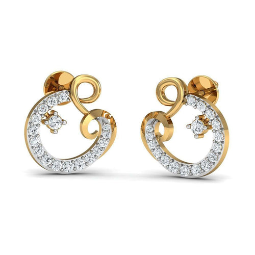 34 High Quality Diamonds and Hand-carved in 14kt Yellow Gold Earrings-Diamoire Jewels-JewelStreet EU