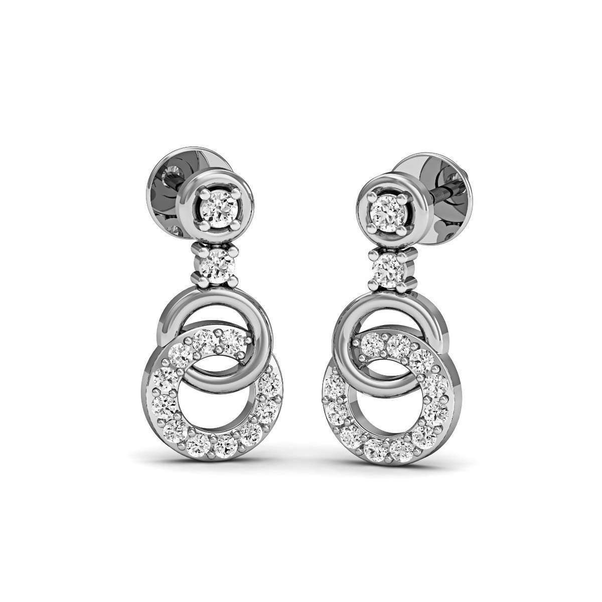 Diamoire Jewels Diamond Pave Earrings in fine polished 18kt White Gold yPa39C