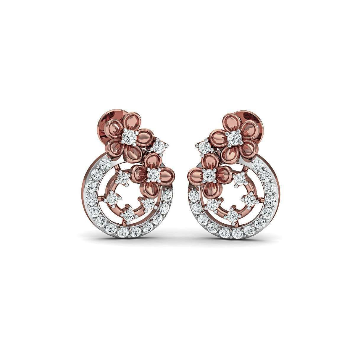 Diamoire Jewels Classic Pave Stud Earrings in 18kt Rose Gold YLrsSfDjd