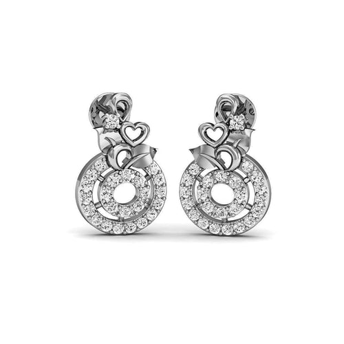 Flourish Diamond Stud Earrings in 18kt White Gold-Diamoire Jewels-JewelStreet EU