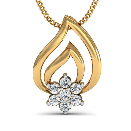 Au-courant Diamond Pave Pendant in 18Kt Yellow Gold-Diamoire Jewels-JewelStreet EU