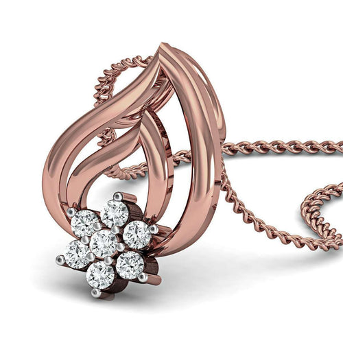 Expedient Diamond Pave Pendant in 18kt Rose Gold-Diamoire Jewels-JewelStreet EU
