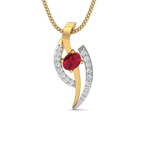 Fitful Ruby Pendant with Diamonds in 18kt Yellow Gold-Diamoire Jewels-JewelStreet EU