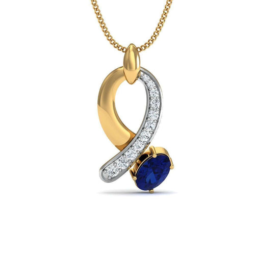 Blue Sapphire and Diamond Bow Pendant in 18kt Yellow Gold-Diamoire Jewels-JewelStreet EU
