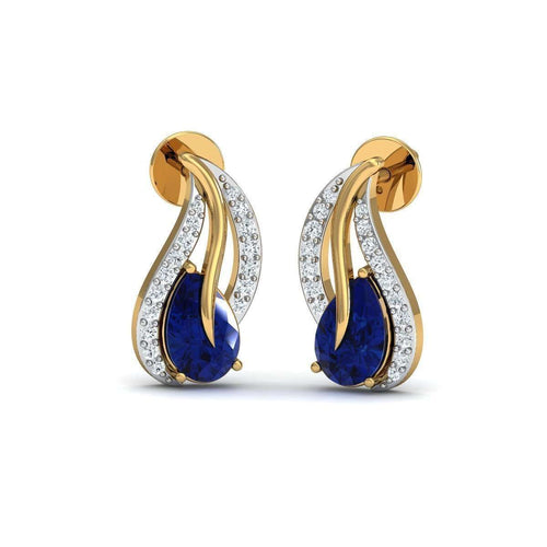 Fillet Oval Blue Sapphire And Diamond Studs in 18kt Gold-Diamoire Jewels-JewelStreet EU